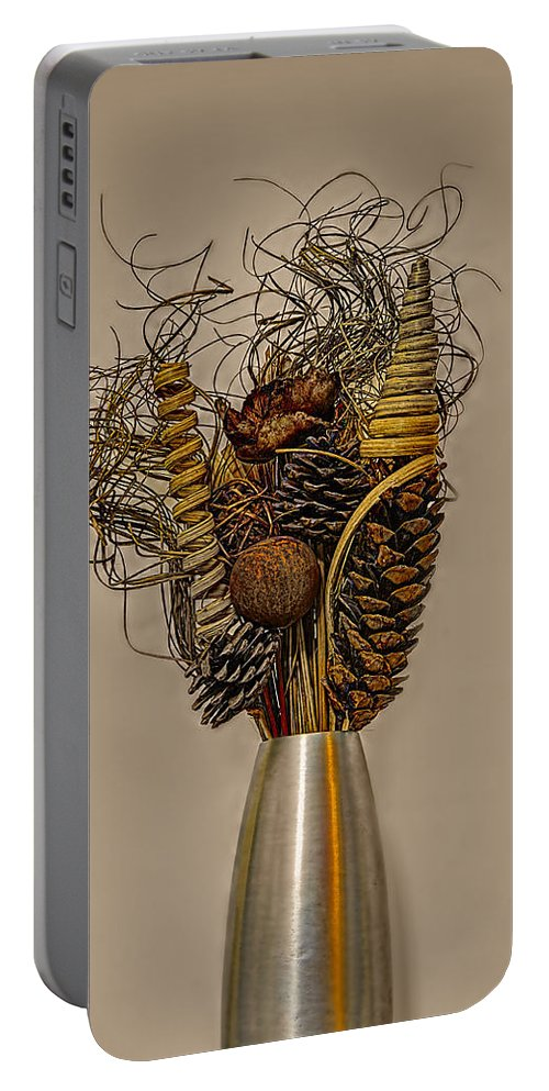 Reed Portable Battery Charger featuring the photograph Dried Flowers by Nick Field