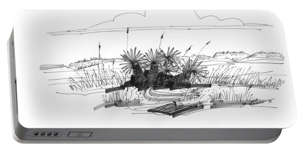 Driftwood Portable Battery Charger featuring the drawing Drift Wood And Yucca Plants by Richard Wambach