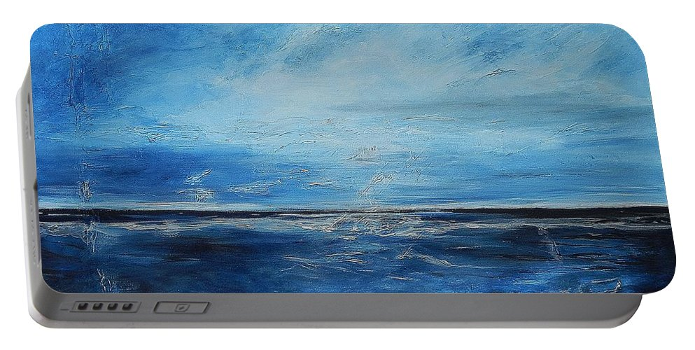 Ocean Portable Battery Charger featuring the painting Drifting In A Dream by Graciela Castro