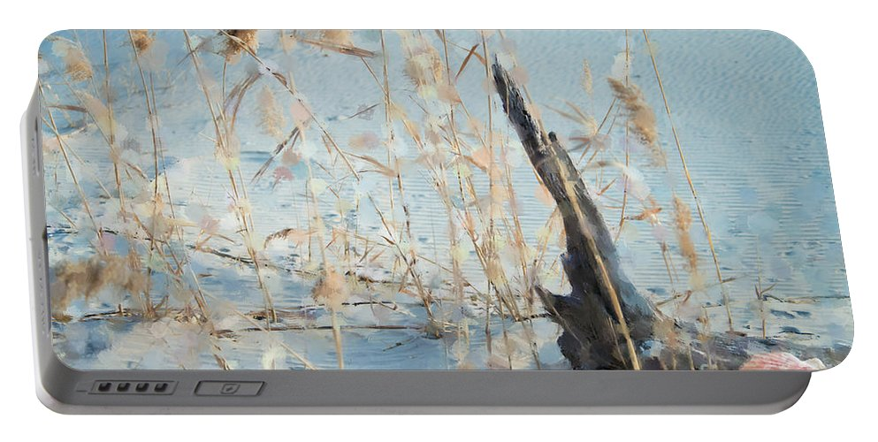 Beach Portable Battery Charger featuring the photograph Driftwood Abstract by Betty LaRue