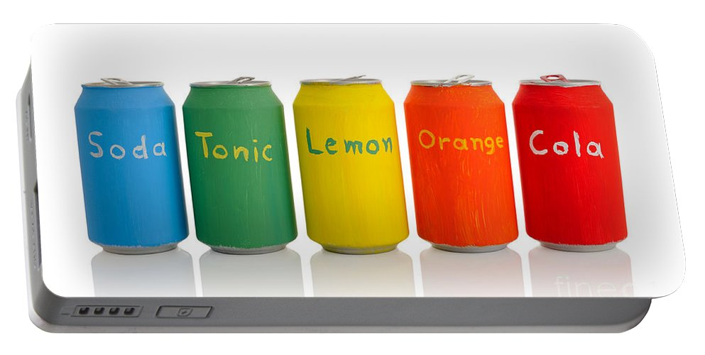 Can Portable Battery Charger featuring the photograph Drink Cans by Grigorios Moraitis