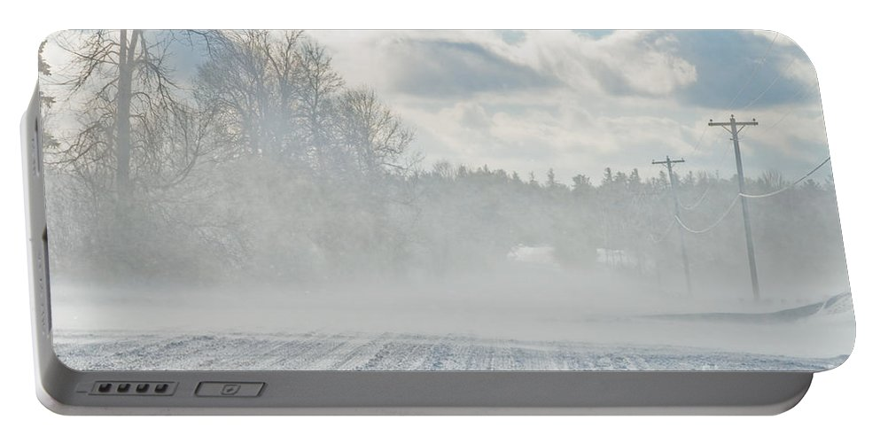 Landscapes Portable Battery Charger featuring the photograph Driving In The Snow by Cheryl Baxter