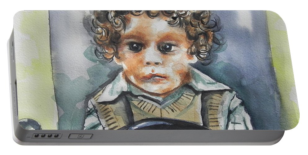 Watercolor Painting Portable Battery Charger featuring the painting Driving The Taxi by Chrisann Ellis