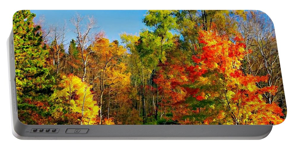 Autumn Portable Battery Charger featuring the photograph Driving Through Autumn by Steve Harrington