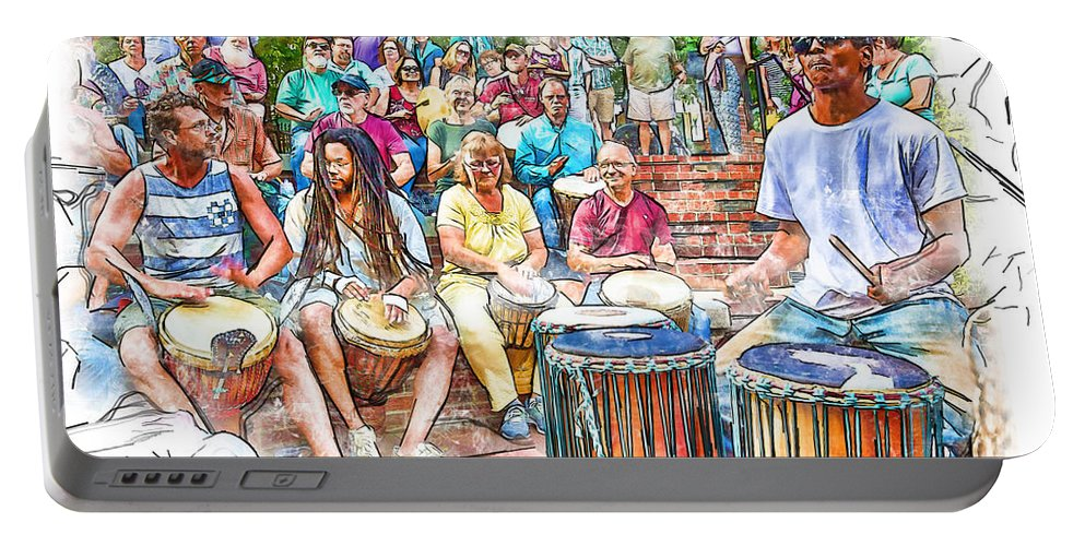 Drum Circle Portable Battery Charger featuring the photograph Drum Circle Of Friends by John Haldane