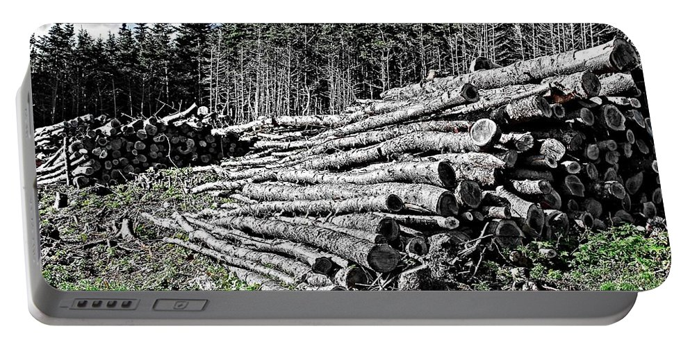 Dry Firewood Portable Battery Charger featuring the photograph Dry Firewood by Barbara Griffin