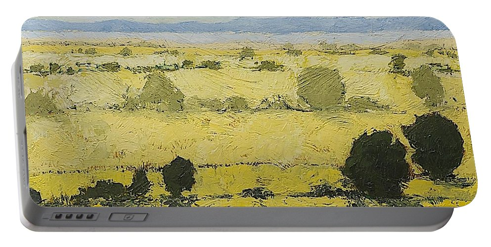 Landscape Portable Battery Charger featuring the painting Dry Grass by Allan P Friedlander