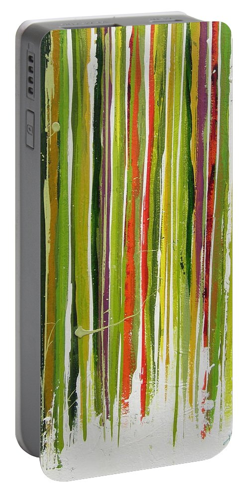 Abstract Portable Battery Charger featuring the painting D.s. Color Band Skinny by Kathy Sheeran