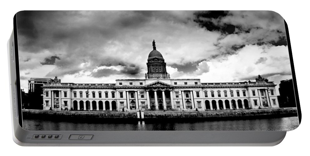 Black And White Photography Portable Battery Charger featuring the painting Dublin - The Custom House - Bw by Alex Art and Photo