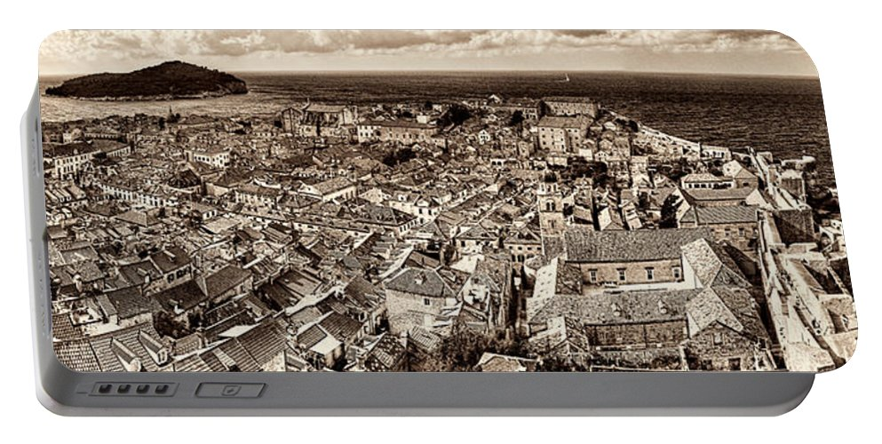 Rooftops Portable Battery Charger featuring the photograph Dubrovnik Rooftops And Lokrum Island Against The Dalmatian Adriatic Sepia by Weston Westmoreland