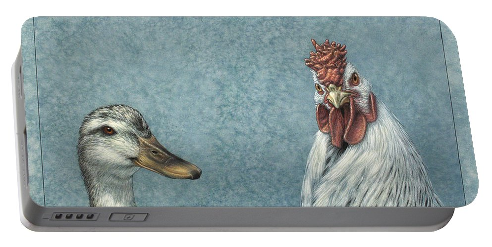Duck Portable Battery Charger featuring the painting Duck Chicken by James W Johnson