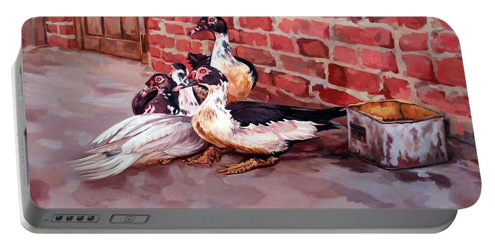 Ducks Portable Battery Charger featuring the painting Ducks by Ahmed Bayomi