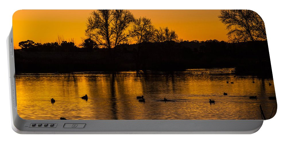 Ducks At Sunrise Photography Prints Portable Battery Charger featuring the photograph Ducks At Sunrise On Golden Lake Nature Fine Photography Print by Jerry Cowart