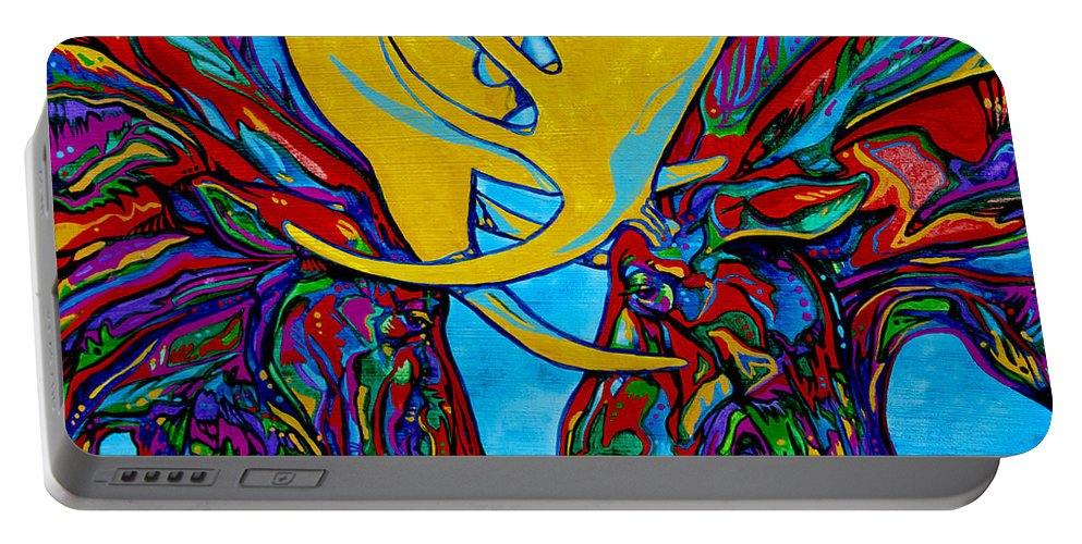 Moose Portable Battery Charger featuring the painting Duelling Moose by Derrick Higgins