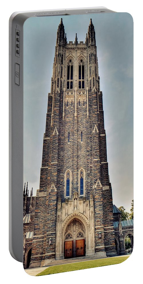 Duke University Portable Battery Charger featuring the photograph Duke Chapel by Emily Kay