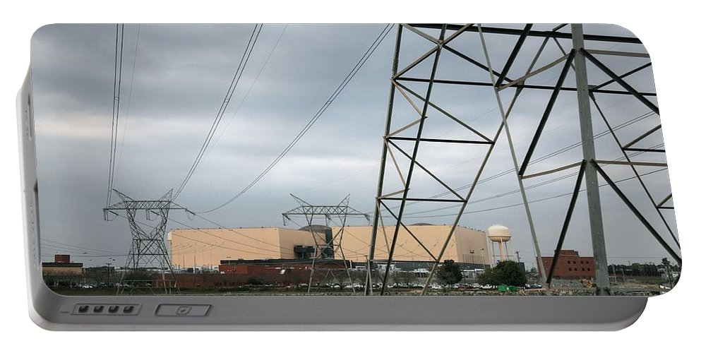 Mcguire Nuclear Energy Station Is Located In Lake Norman Mecklenburg County Portable Battery Charger featuring the photograph Duke Energy Mcguire Nuclear Energy Station by Robert Loe