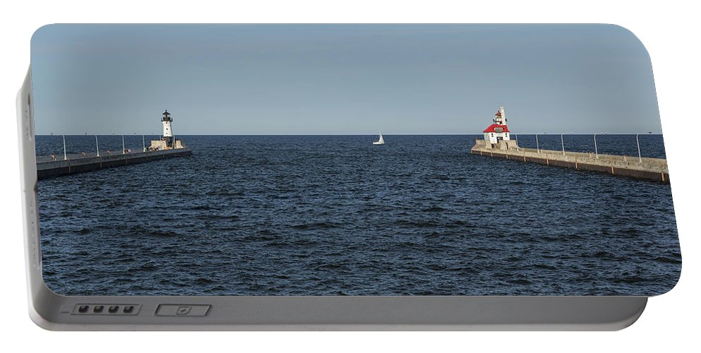 Lighthouse Portable Battery Charger featuring the photograph Duluth N And S Pier Lighthouses 5 by John Brueske
