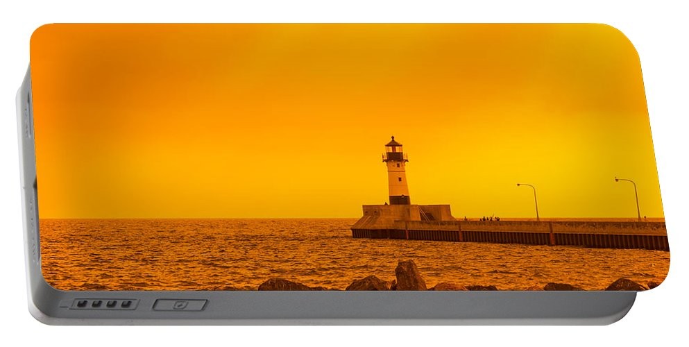 Lighthouse Portable Battery Charger featuring the photograph Duluth N Pier Lighthouse 41 A by John Brueske