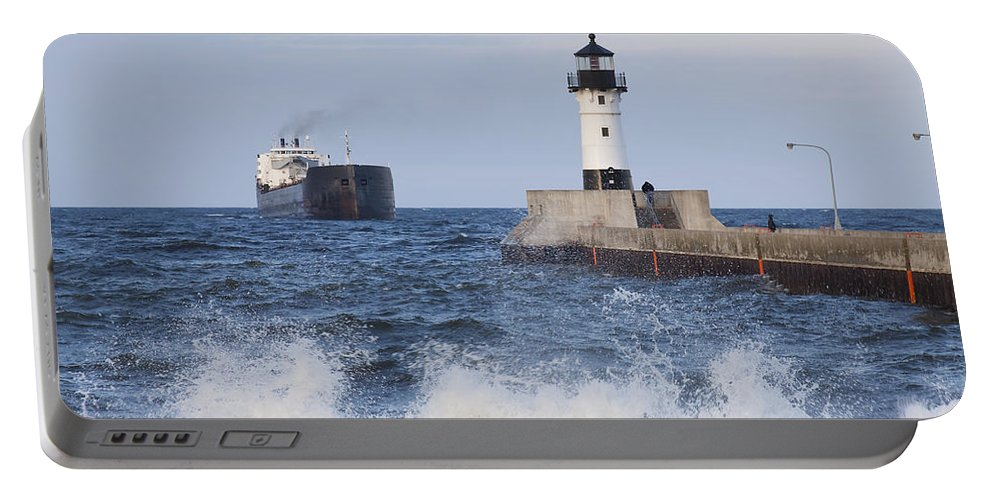 Duluth Portable Battery Charger featuring the photograph Duluth N Pierhead And Ship 1 by John Brueske