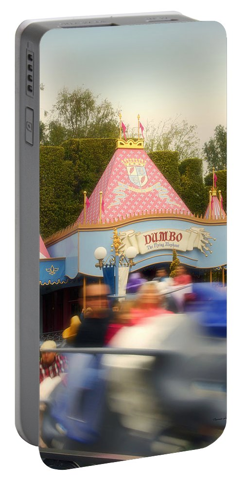 Disney Portable Battery Charger featuring the photograph Dumbo Flying Elephants Fantasyland Signage Disneyland 02 by Thomas Woolworth