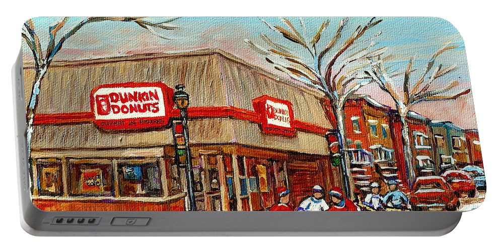 Dunkin Donuts Portable Battery Charger featuring the painting Dunkin Donuts Rue Wellington Verdun Montreal Paintings Hockey Art Winter Street Scenes Cspandau by Carole Spandau