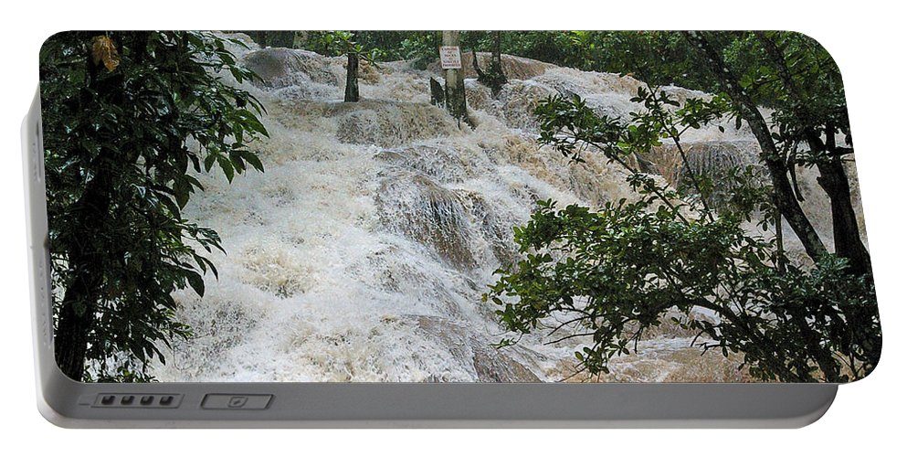 Jamaica Portable Battery Charger featuring the photograph Dunns River Falls 2 by Nancy L Marshall