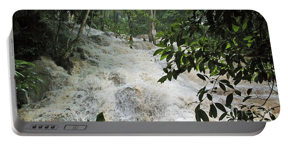 Jamaica Portable Battery Charger featuring the photograph Dunns River Falls 3 by Nancy L Marshall