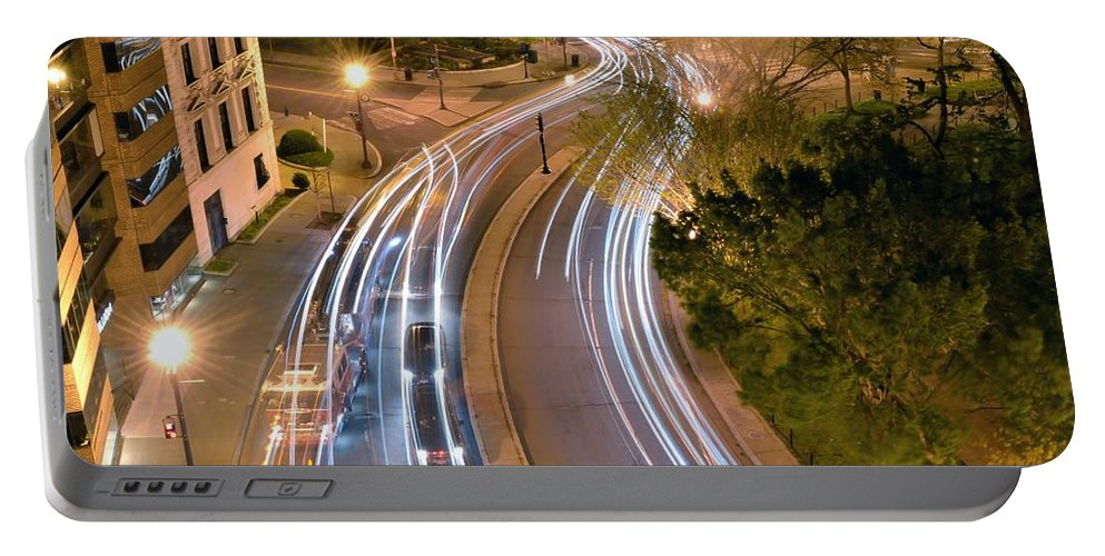 Night Portable Battery Charger featuring the photograph Dupont Circle Traffic I by Kathy McCabe