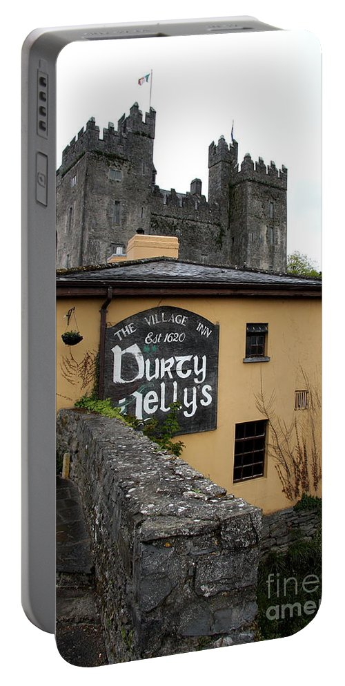 Pub Portable Battery Charger featuring the photograph Durty Nellys And Bunraty Castle by Christiane Schulze Art And Photography