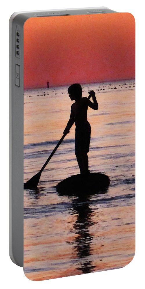 Silhouette Portable Battery Charger featuring the painting Dusk Float - Sunset Art by Sharon Cummings