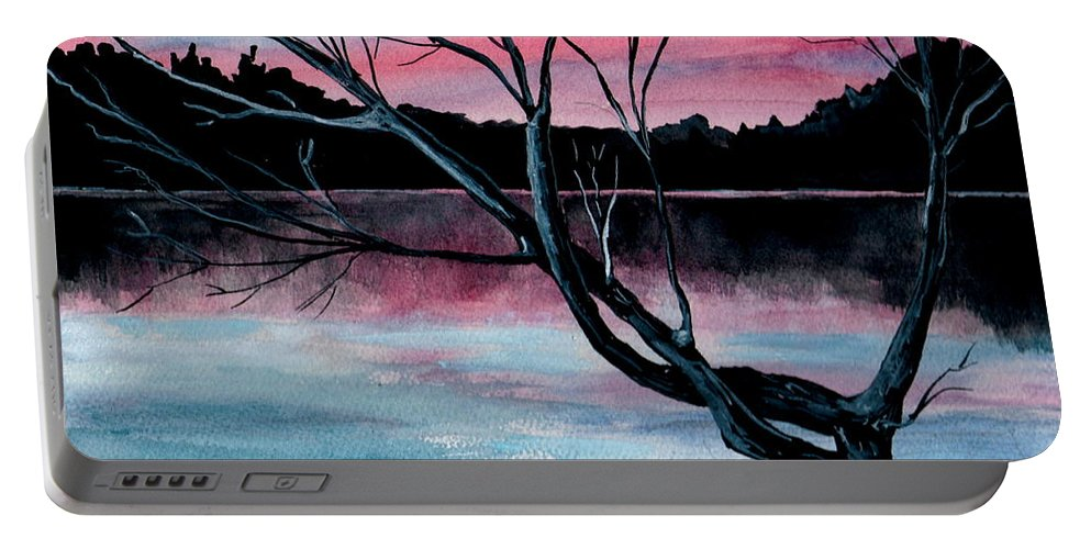 Landscape Portable Battery Charger featuring the painting Dusk Lake Arrowhead Maine by Brenda Owen