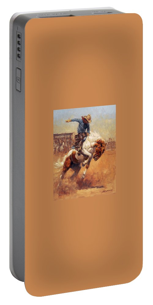 Andy Thomas Portable Battery Charger featuring the digital art Dusty Bronc by Andy Thomas