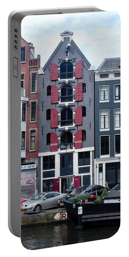 Amsterdam Portable Battery Charger featuring the photograph Dutch Canal House by Thomas Marchessault