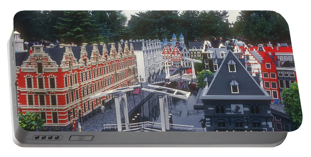 Legoland Billund Denmark Lego Legos Tree Trees Replica Replicas Artwork Odds And Ends People Person Persons Creature Creatures Portable Battery Charger featuring the photograph Dutch Miniature by Bob Phillips