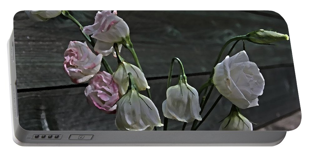 Flowers Portable Battery Charger featuring the photograph Dying Grieving Flowers by Guna Andersone