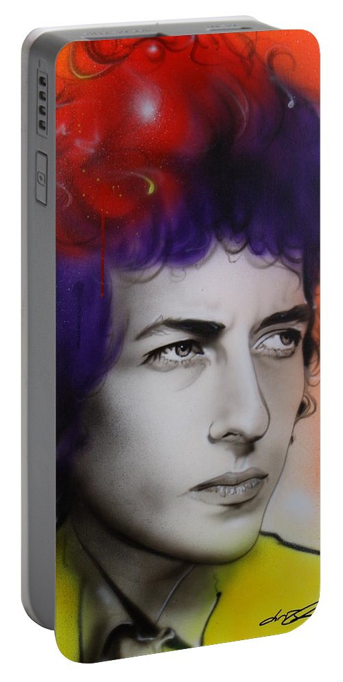 Bob Portable Battery Charger featuring the painting Dylan by Christian Chapman Art