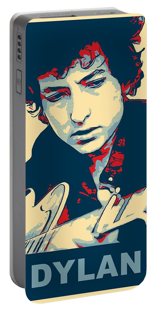 Bob Dylan Portable Battery Charger featuring the mixed media Dylan by Dan Sproul