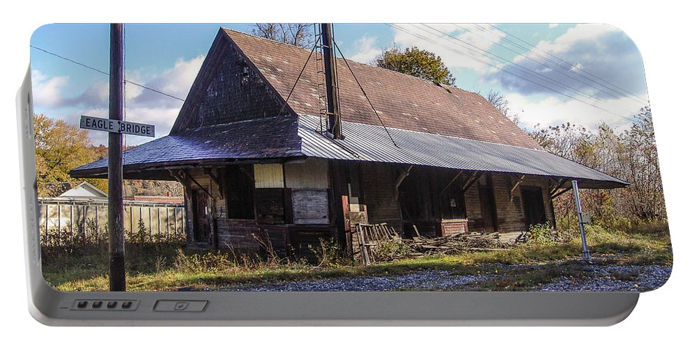 Train Depot Portable Battery Charger featuring the photograph Eagle Bridge Depot by Eric Swan