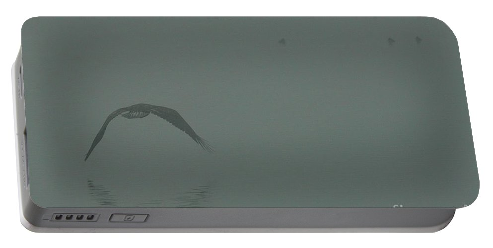 Eagle Portable Battery Charger featuring the photograph Eagle Into The Mist by Rod Wiens