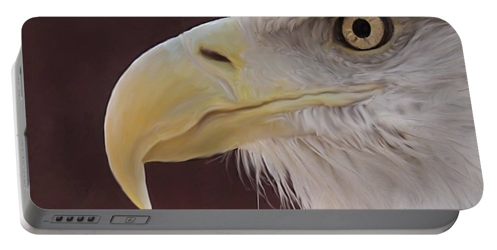 Birds Portable Battery Charger featuring the digital art Eagle Portrait Freehand by Ernie Echols