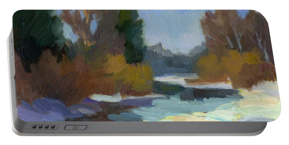 Pacific Northwest Portable Battery Charger featuring the painting Early Autumn Snow by Diane McClary