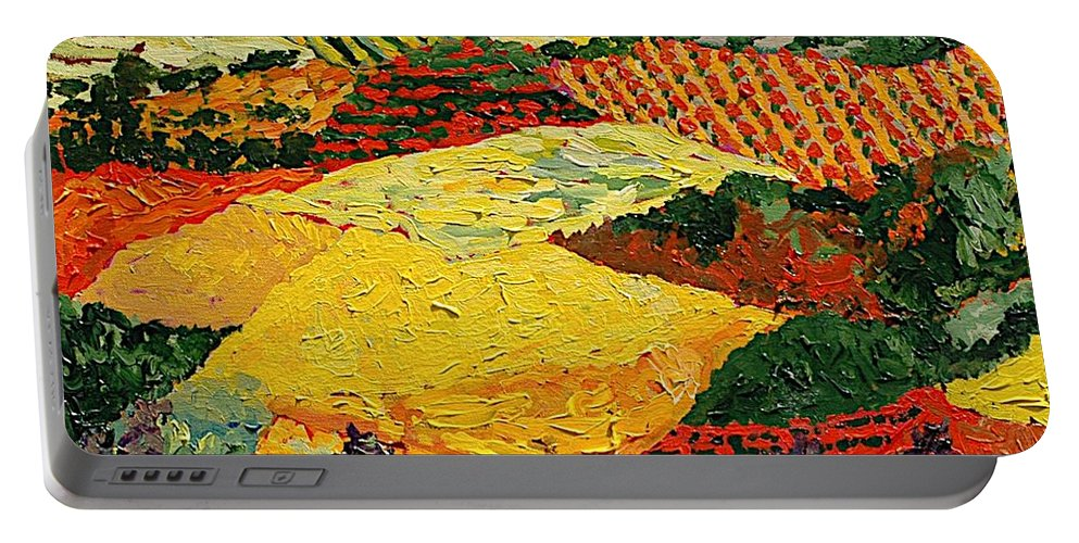 Landscape Portable Battery Charger featuring the painting Early Clouds by Allan P Friedlander
