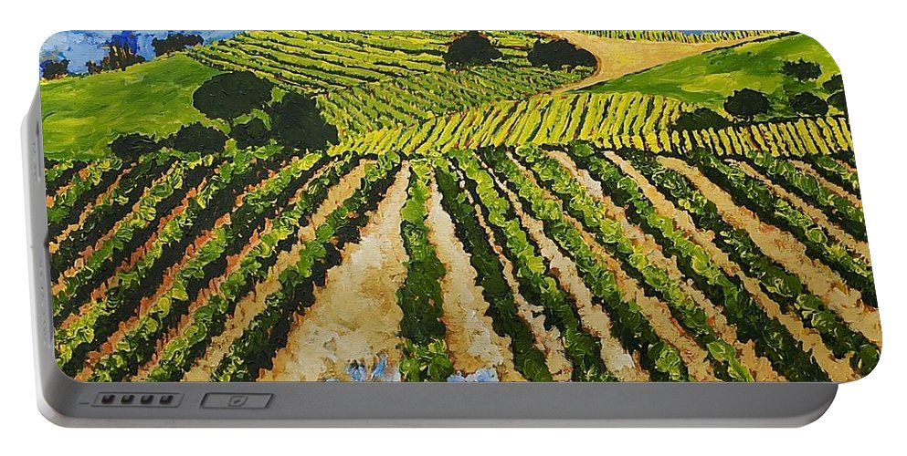 Landscape Portable Battery Charger featuring the painting Early Crop by Allan P Friedlander