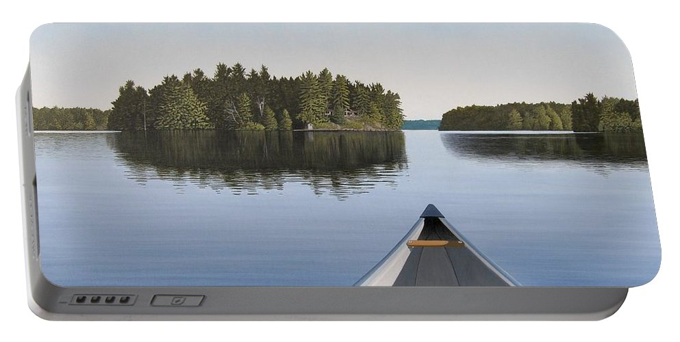Canoe Portable Battery Charger featuring the painting Early Evening Paddle Aka Paddle Muskoka by Kenneth M Kirsch