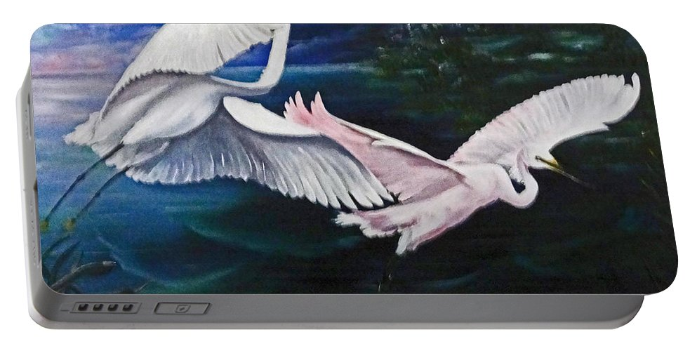 Snowy Egrets Portable Battery Charger featuring the painting Early Flight by Karin Dawn Kelshall- Best