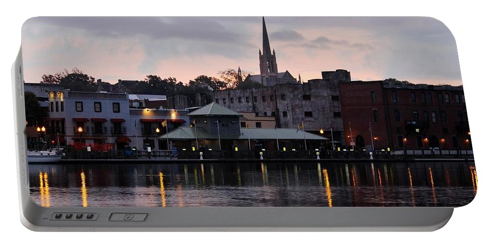 Downtown Portable Battery Charger featuring the photograph Early In The Morning by Cynthia Guinn