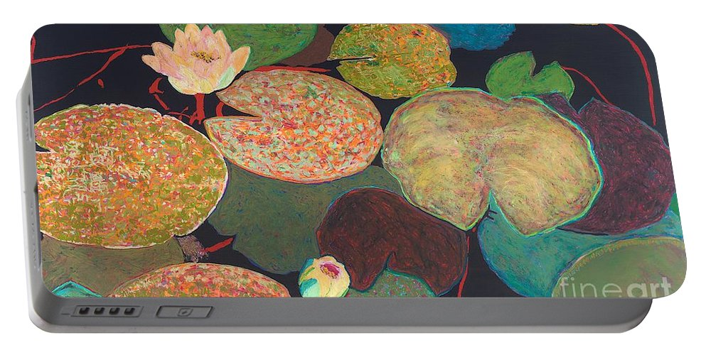Landscape Portable Battery Charger featuring the painting Early Mist by Allan P Friedlander
