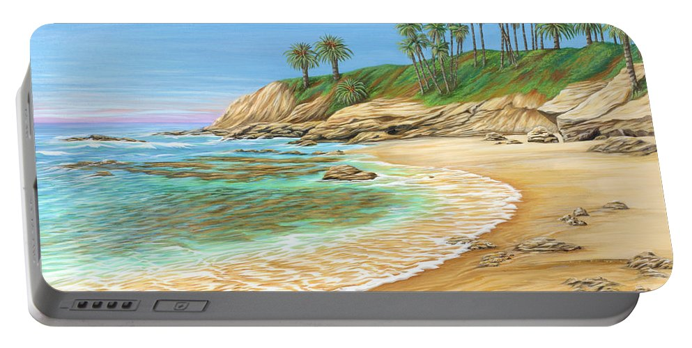 Beach Portable Battery Charger featuring the painting Early Morning Laguna by Jane Girardot