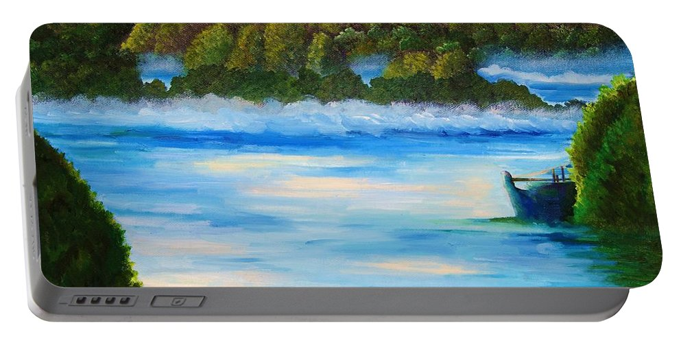 Landscape Portable Battery Charger featuring the painting Early Morning On Lake Peipsi by Misuk Jenkins