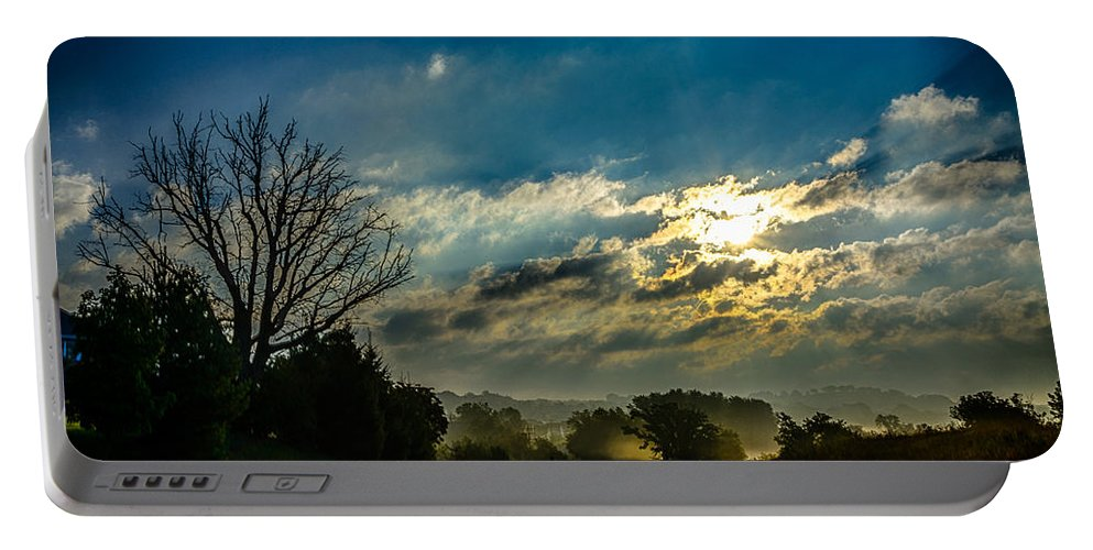 Clouds Portable Battery Charger featuring the photograph Early Morning On The Road Again by Randy Scherkenbach